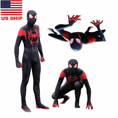 US! Spider-Man Into the Spider-Verse Miles Morales Zentai Cosplay Costume Lycra