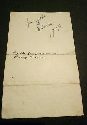Rare Jimmy Wilde Welsh Boxing Legend Signed Sheet at Barry Island 1958 genuine!