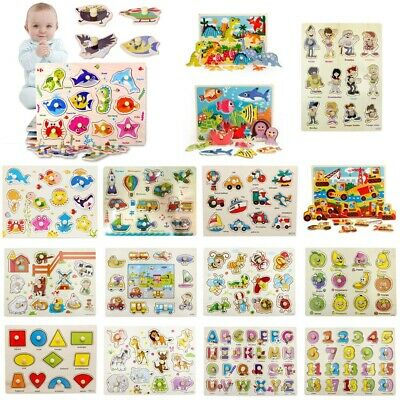 Kids Baby Peg Jigsaw Puzzle Baby Developmental Wooden Game Toys Xmas Funny Gift