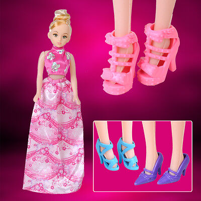 10 Pairs Mix Fashion Different Shoes Boots Heels Sandals for Barbie Doll Outfit