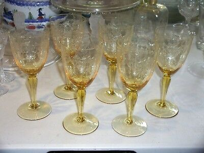 "Vintage Elegant Glassware Of 1930's-60's-Six 6 1/4"" Golden Yellow Etched Goblets"