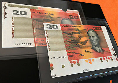 1989 FIRST & LAST Prefix $20 Notes ** EVJ 000001 & EYD 000001 ** with Selvedge!!