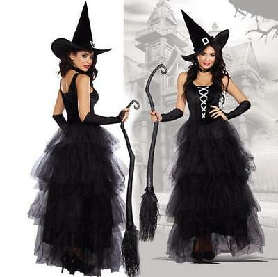 Halloween Ladies Black Witch Costume Hat Sexy Long Womens Witches