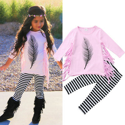 US Toddler Kid Baby Girl Tassel Outfit Clothes Dress Tops Striped Leggings Pants