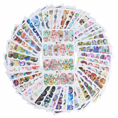 50 Sheets Water Decals Mixed Designs Nail Art Transfer Sticker Manicure Tips DIY