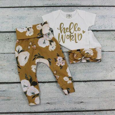Organic Newborn Baby Girls Tops Romper Flower Long Pants 3Pcs Outfits Clothes