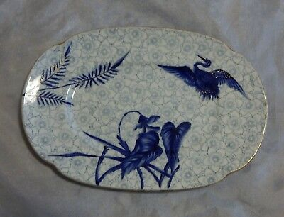 Antique 1880's Royal Worcester Blue Crane Small Tray