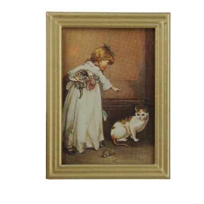 1/12 Dollhouse Miniature Framed Girl Kitten Wall Painting Picture Room Items