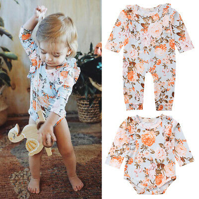 Long Sleeve Newborn Baby Girls Floral One Piece Jumpsuit Romper Sunsuit Clothes