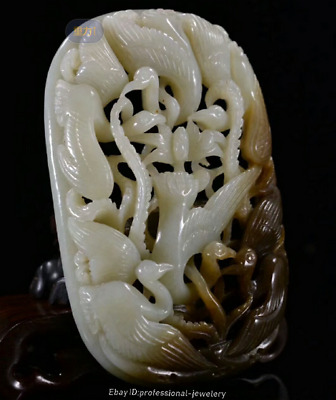10.8cm collect China Natural HeTian White jade Hand-carved crane Pendant JJO