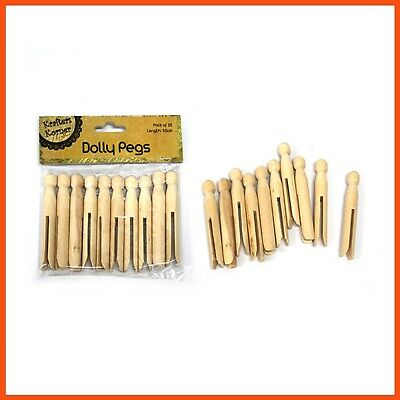 120 x PLAIN WOODEN DOLLY PEGS 9.5cm   Vintage Washing Pegs Doll Making Art Craft