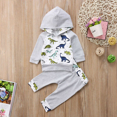 USA Toddler Newborn Baby Kid Boy Hooded Shirt Tops+Pant Outfit Set Clothes 2PCS