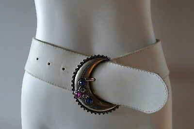 Vintage retro 80s M womens white leather hip belt jewels disco Belt very good