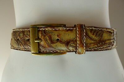 Vintage retro 90s 105/120 brown tooled leather Belt unused Italy Australian M627
