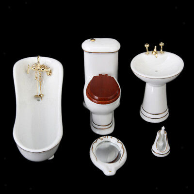 5 Ceramic Bathroom Furniture Set for 1/12 Dolls House Miniature Accessories