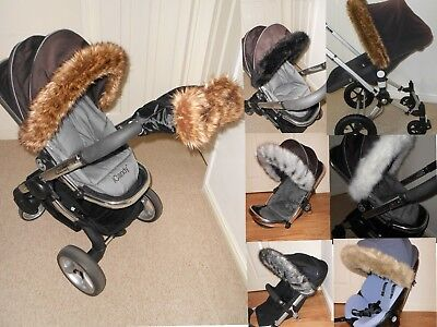 Hood fur trim for pushchair, pram  universal fit  Silver Cross, Icandy,Bugaboo