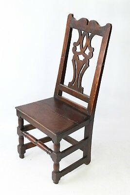 Late 17th Century Oak Hall Chair - Georgian Gothic Early Country Stool Back Seat