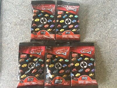 New Disney Pixar Cars - 5 x Diecast Mini Racers - Sealed Blind Bags Cake Toppers