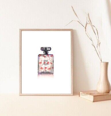 Flamingo coco chanel watercolour perfume bottle print/poster