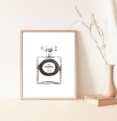 drawing watercolour coco chanel perfume bottle print/poster