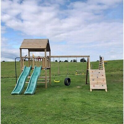 Dunluce Climbing Frame Complete with Rock Wall and MONKEY BARS