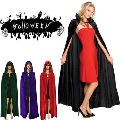Halloween Party Witch Velvet Cloak Adult Hooded Cape Wedding Robe Costume USA