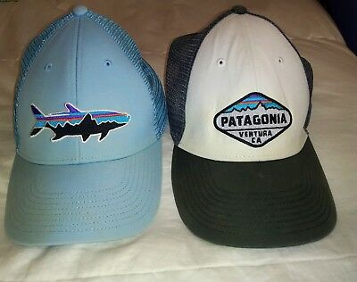 3fbf31b611e Lot of 2 Patagonia LoPro Trucker Hats Fitz Roy Tarpon Blue. Fitz Roy Crest  Gray