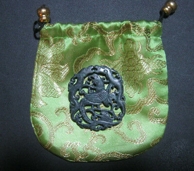 Black Green Natural Hetian Jade Hollow Out Phoenix Dbl Dragon Carving w/Bag