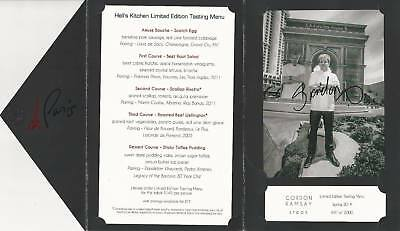 Gordon Ramsay Autographed Signed Hell's Kitchen Limited Edition Numbered Menu