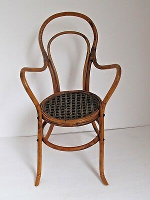 Antique Bent Rattan Doll Chair Chair Faux Cane Seat