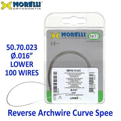 "100 Morelli NiTi Dental Orthodontic Reverse Curve Spee Archwire .016"" Lower"