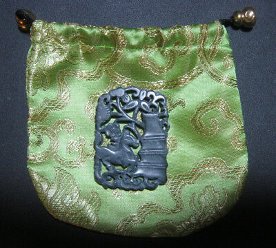 Black Green Natural Hetian Jade Hollow Out Horse Carving with Silk Bag