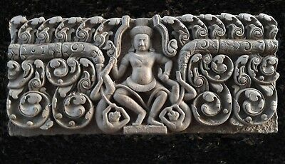 KHMER RELIEF LINTEL FRAGMENT 'VISHNU' STANDING ATOP ASCETICS, ANGKOR ERA 13th C.