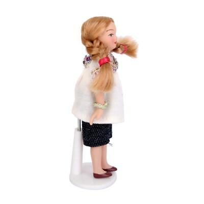 Doll house Miniature Figure Porcelain People Little Girl White T-shirt Stand