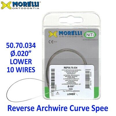 "10 Morelli NiTi Dental Orthodontic Reverse Curve Spee Archwire .020"" Lower"