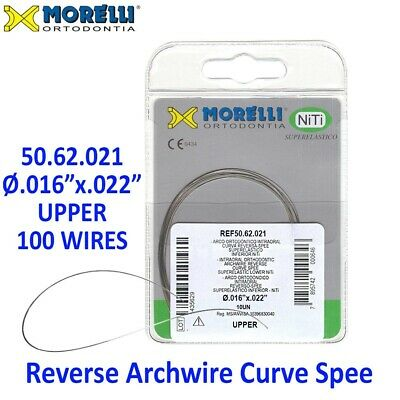"100 Morelli NiTi Dental Orthodontic Reverse Curve Spee Archwire .016""x.022"" Up"