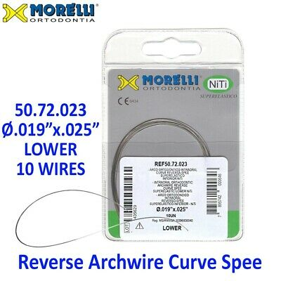 "10 Morelli NiTi Dental Orthodontic Reverse Curve Spee Archwire .019""x.025"" Lower"