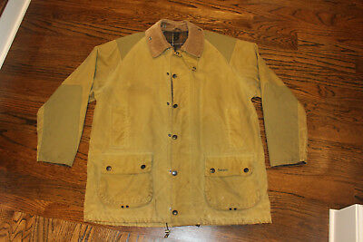 Mens Barbour Beaufort Sporting Jacket Coat Waxed Cotton Green Size 46