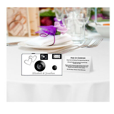 20 Double Hearts Disposable Cameras-PERSONALIZE-wedding camera/anniversary