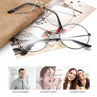Women Men Large Oversized Metal Frame Clear Lens Round Circle Eyeglasses Y5V0L
