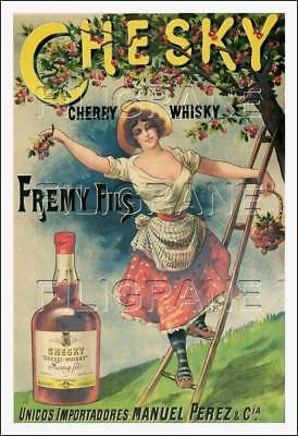 POSTER/REPRODUCTION 40x60cm d1 AFFICHE VINTAGE CHERRY WHISKY CHESKY FREMY