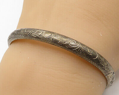 925 Sterling Silver - Vintage Hand Chased Filigree Hinged Bangle Bracelet B2714