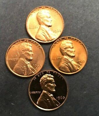 1960 P & D  PLUS 1960 D Small Date UNC and  1960 PROOF LINCOLN CENTS (4 COINS)