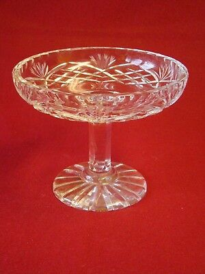 Heavy Lead Crystal Cut Glass Bon Bon Dish Tazza On Pedestal
