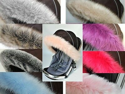 Universal faux Fur Hood fur trim for carrycot pram pushchair in many colours