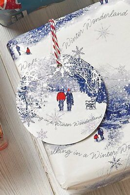 24M Luxury Christmas Wrapping Paper Roll Winter Scene, + 10 Matching Tags