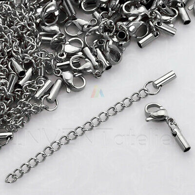SURGICAL STEEL Hypoallergenic GOLD SET Lobster Ends Extension Chain 2mm