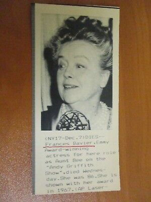 Vtg AP Wire Press Photo Actress Frances Bavier The Andy Griffith Show 12/07/89