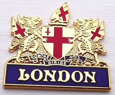 Unique metal gold plated fridge magnet authentic from London crest coat of arms