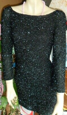 Abito/Dress PIANOFORTE by MAX MARA ORIGINALE VINTAGE anni 80 nero  tg 44 lucente
